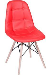Cadeira Eames Botonãª- Vermelha & Bege- 83X44X39Cm
