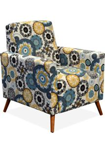 Poltrona Decorativa Para Sala De Estar Pés Palito Liz Floral Amarelo - Lyam Decor