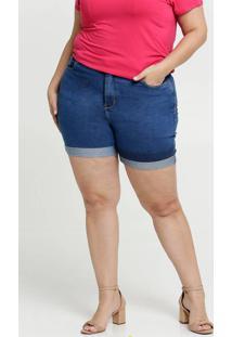Bermuda Feminina Jeans Barra Dobrada Plus Size Razon