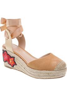 Sandália Plataforma Em Couro- Bege & Off Whitearezzo & Co.
