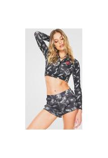 Camiseta Cropped Roxy Rashguard Preta/Cinza