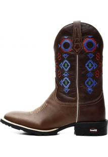 Bota Texana Country Cano Alto Bico Quadrado Bordado Exclusivo