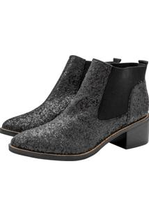 Bota Corazzi Leather Deluxe Chelsea Boot Glitter Preta