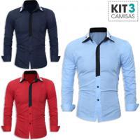 b280fe59b Kit 3 Camisas Sociais Masculina Slim Fit Manga Longa - Azul Marinho