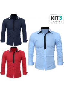 Kit 3 Camisas Sociais Masculina Slim Fit Manga Longa - Azul Marinho, Vermelho E Azul Claro