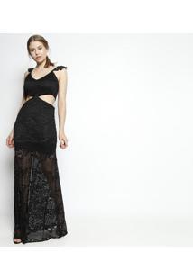 Vestido Longo Em Renda Com Recortes- Pretomurau