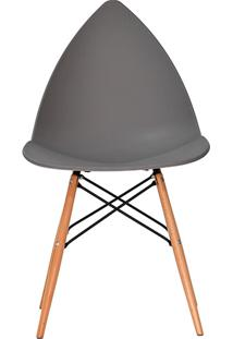 Cadeira P&W Plástico Pp E Base Em Madeira De Faia E Aço Cinza - Orb
