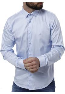 Camisa Manga Longa Masculina - Masculino-Azul