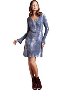 Vestido Manga Longa Moleton Energia Fashion Azul
