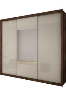 Guarda Roupa Arezzo Gold 3 Portas Com Espelho Canela/Off White