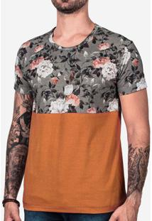 Camiseta Floral E Marrom 101840