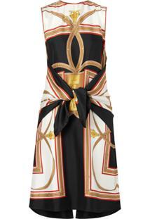 Burberry Vestido De Seda Com Estampa - Preto