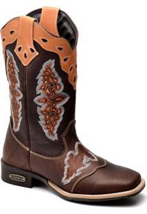 Bota Top Franca Shoes Texana - Feminino-Marrom