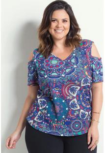 Blusa Marguerite Estampa Mandalas Detalhe Vazado