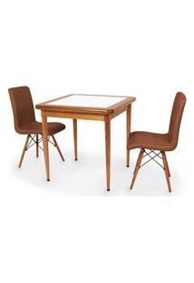 Conjunto Mesa De Jantar Em Madeira Imbuia Com Azulejo + 2 Cadeiras Gomos - Marrom
