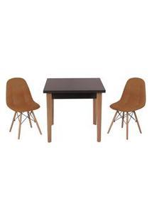 Conjunto Mesa De Jantar Luiza 80Cm Preta Com 2 Cadeiras Botonê - Marrom