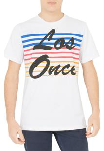 Camiseta Los Once Striped Color Branca