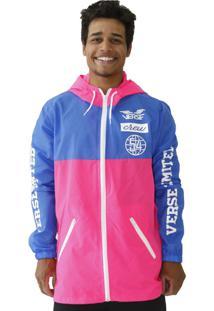 Jaqueta Windbreaker Verse Hype College Masculina Rosa E Azul