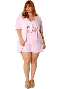 Blazer Plus Size Gola Smoking Quartz Feminino - Feminino-Rosa Claro