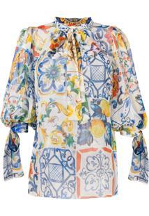 Dolce & Gabbana Blusa Com Estampa Majolica' - Azul