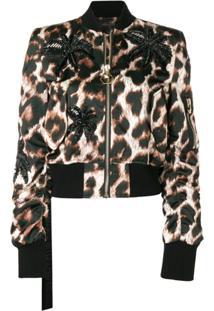 Philipp Plein Jaqueta Cropped Com Estampa De Leopardo - Preto