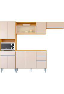 Cozinha Compacta 10 Portas E 3 Gaveta C/ Balcão Vanessa-Poquema - Damasco / Off White