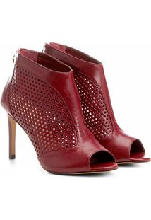Sandália Couro Shoestock Salto Fino Lasercut Feminina - Feminino-Vinho
