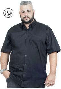 Camisa Plus Size Bigshirts Manga Curta Lisa Preta