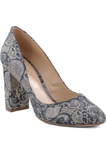 Sapato Tradicional Arabescos- Azul Escuro & Cinzaarezzo & Co.