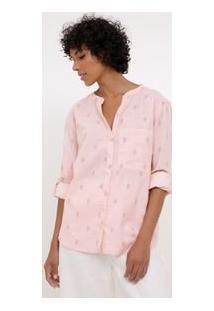 Camisa Estampada Com Folhagens Em Linho