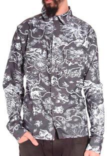 Camisa Andy Roll Estampada Giertiger Special Cinza Escuro