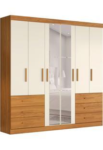 Guarda-Roupa Casal Com Espelho Ambar 6 Pt 6 Gv Carvalho E Off White