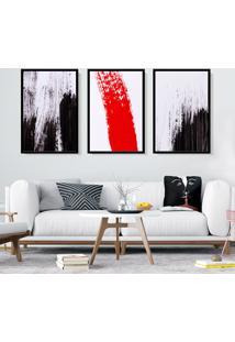 Quadro 60X120Cm Estilo Pinceladas Preto Vermelho Decorativo Com Vidro - Multicolorido - Dafiti