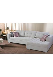 Sofa De 5 Lugares Em L, Revestimento Sarja Branca - Pie001