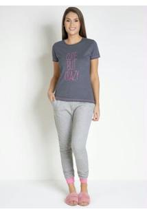 Pijama Com Calças Longas Mescla E Rosa