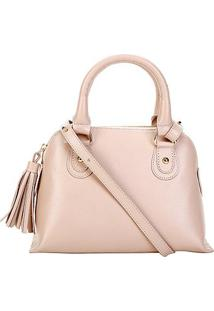 Bolsa Couro Shoestock Mini Handbag Feminina - Feminino-Bege