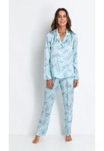 Pijama Longo Cetim Pernalonga Acuo Feminino - Feminino-Azul