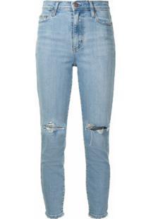 Nobody Denim Calça Jeans Cropped Siren Com Detalhe Destroyed - Azul