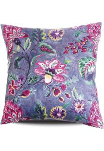 Capa De Almofada Floral- Roxa & Pink- 42X42Cm- Sstm Home