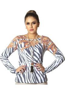 Blusa Ficalinda Com Proteção Solar Uv Estampa Zebra Barroco Evasê Feminina - Feminino-Branco+Preto