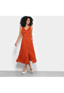 Vestido Midi Il Shin Fenda C/ Botão - Feminino-Coral
