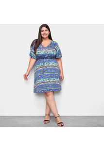 Vestido Lecimar Curto Plus Size Básico - Feminino-Azul