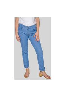 Calça Jeans Feminina Básica Skinny Délavé Áustria Azul