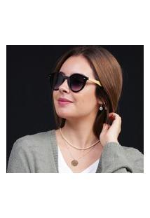 Óculos De Sol Redondo Preto Haste Madeira Bambu Degrade