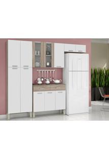 Cozinha 12 Portas Alfa Top Nogal/White - Lc Móveis