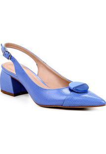 Scarpin Couro Shoestock Slingback Lezard Salto Médio - Feminino-Azul