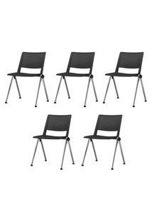 Kit 5 Cadeiras Up Assento Preto Base Fixa Cromada - 57832 Preto