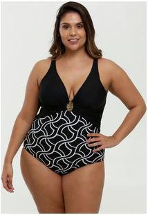 Maiô Feminino Plus Size Estampado Banho De Mar