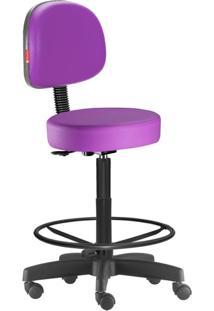 Cadeira Mocho Alto Lilás Escuro Secretária