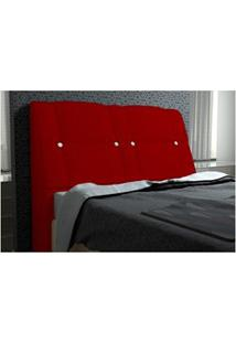 Cabeceira Itália Para Cama Casal Box 160 Cm Suede Amassado Vermelho -